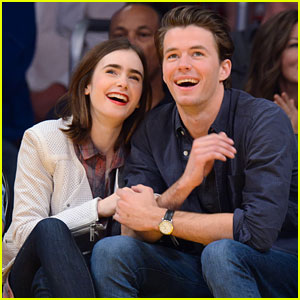 lily-collins-boyfriend-thomas-cocquerel-cozy-lakers-game