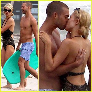 paris-hilton-kisses-model-josh-upshaw