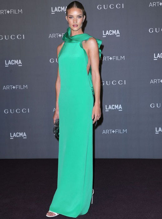 Rosie-Huntington-Whitely-in-Green-Column-Gown-by-Gucci