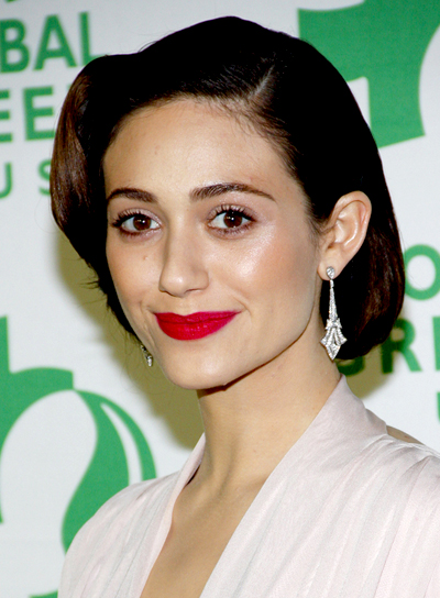 emmy-rossum-brunette-chic-sophisticated-updo-hairstyle