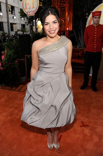 America Ferrera one-shoulder dress Golden Globes