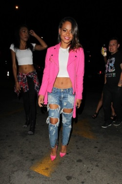 Christina-Milians-LA-Moschino-Pink-Tweed-Moto-Jacket-and-667x1000-466x700