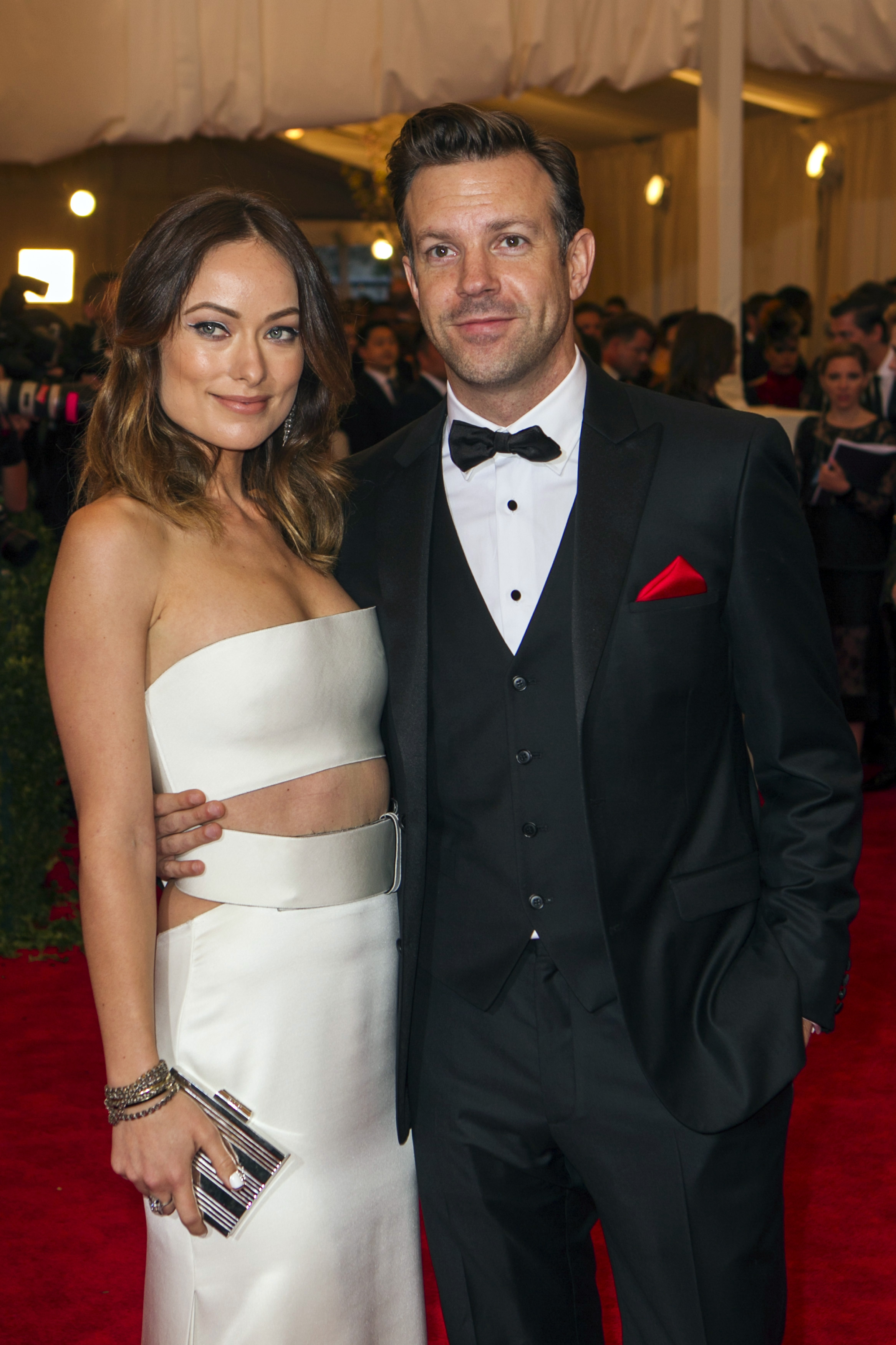 "Actress Olivia Wilde arrives with Jason Sudeikis at the Metropolitan Museum of Art Costume Institute Benefit celebrating the opening of ""PUNK: Chaos to Couture"" in New York"